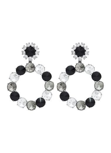 Ninon Ninon Loulou Black, Caviar & Diamond Kristal Küpe Siyah